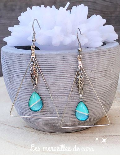 Boucles d'Oreilles Prisme collection lagon bleu
