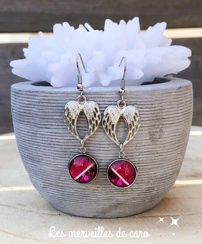 Boucles d'Oreilles Ange collection rose bonbon